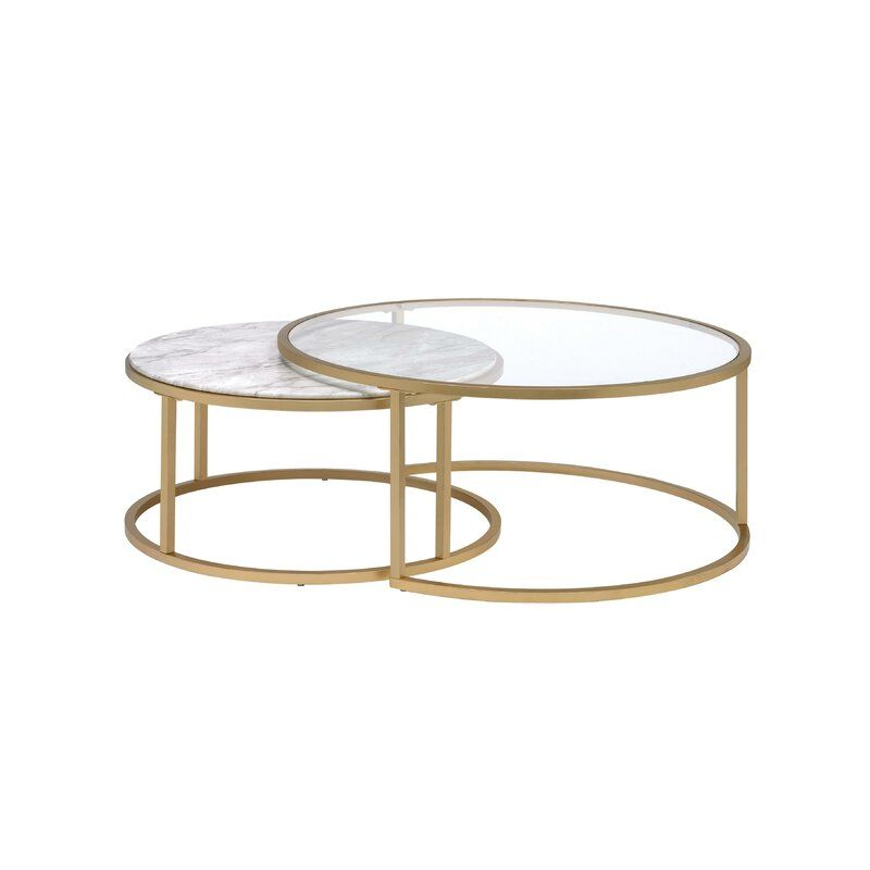Kellan 2 Piece Coffee Table Set With Tray Top Coffee Table Gold