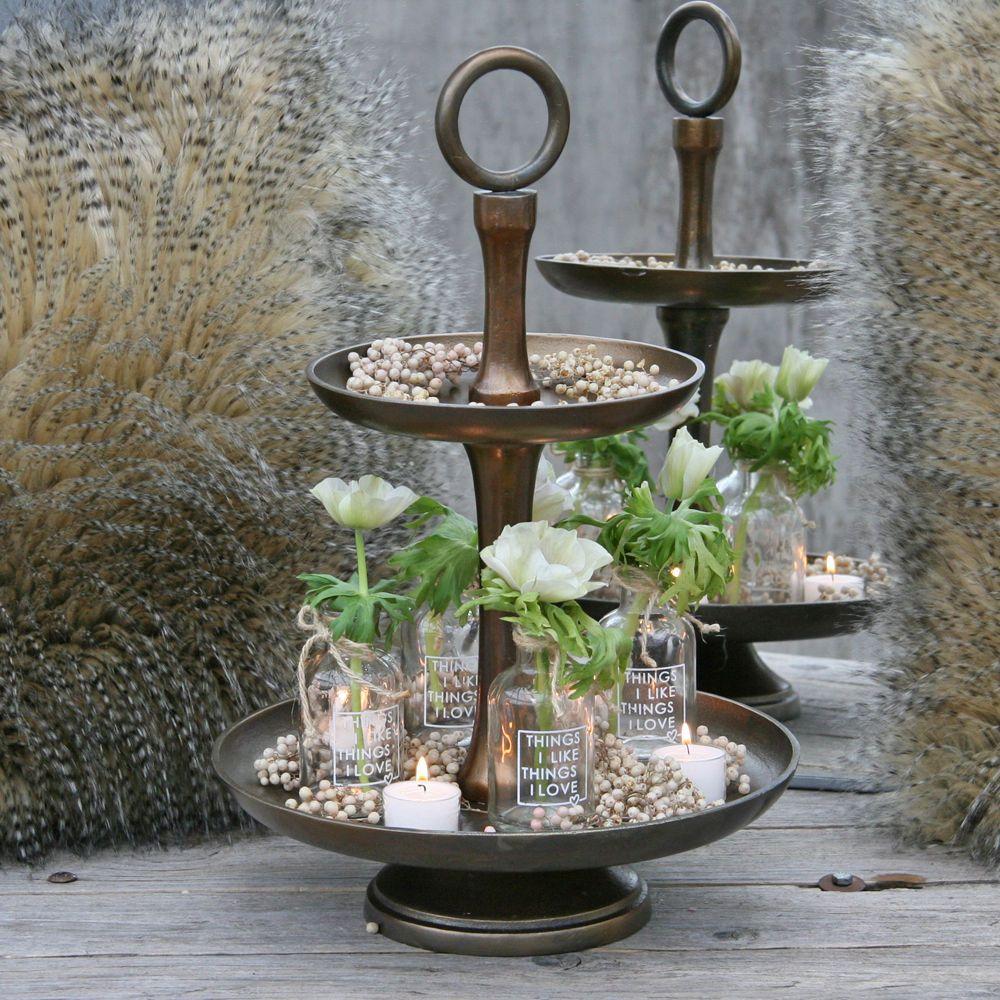 awesome einfache dekoration und mobel fenster dekorativ hervorheben 2 #1: Vintage Deko-Etagere Metall bronze 2 Etagen H 46 cm Shabby Etagenständer