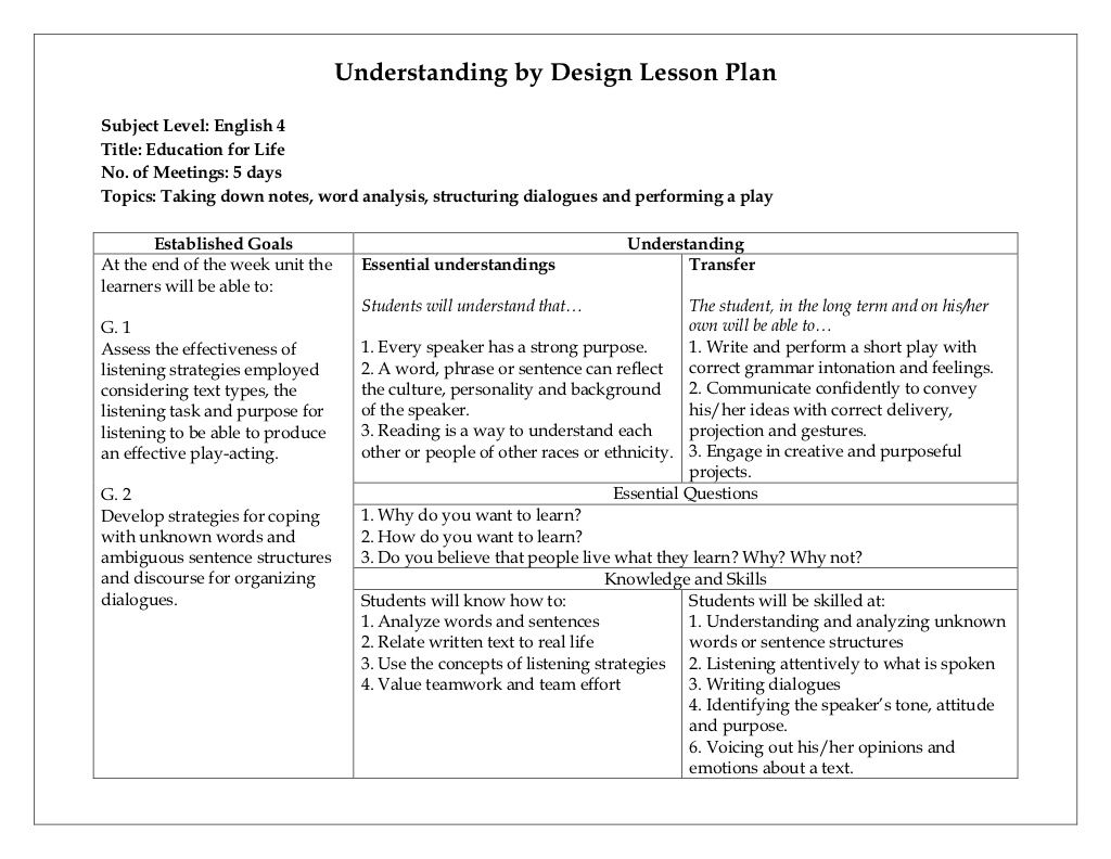 Understanding by design lesson plan by yuna lesca via - Understanding by design lesson plan template ...