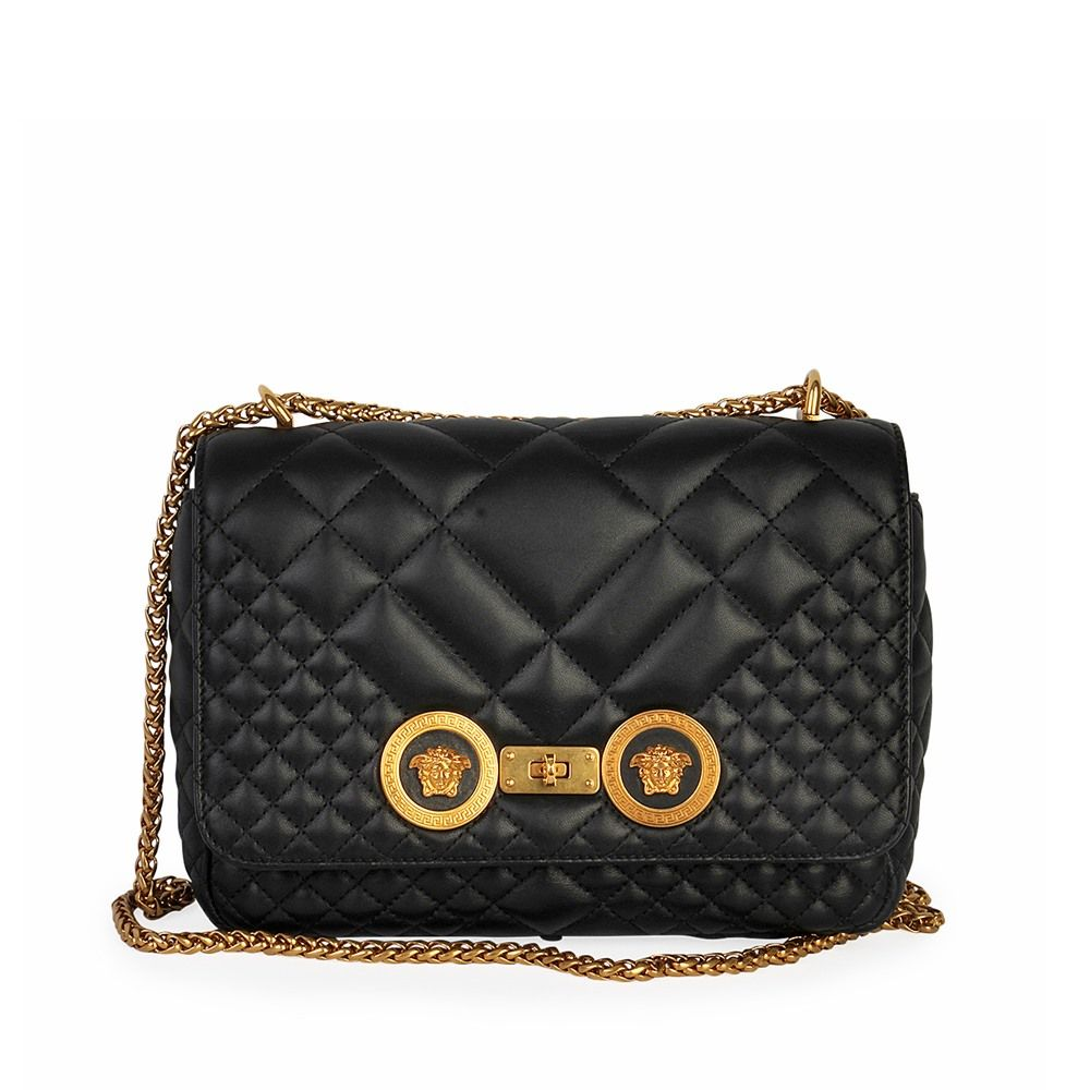 Versace quilted leather icon shoulder bag black luxity