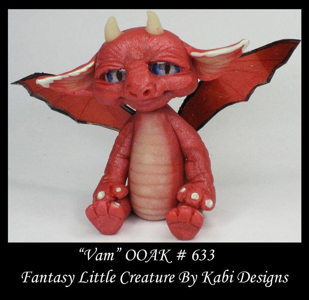 Fantasy Little Baby Dragon DollHouse Art Doll Polymer Clay OOAK IADR Vam Mini #KabiDesigns
