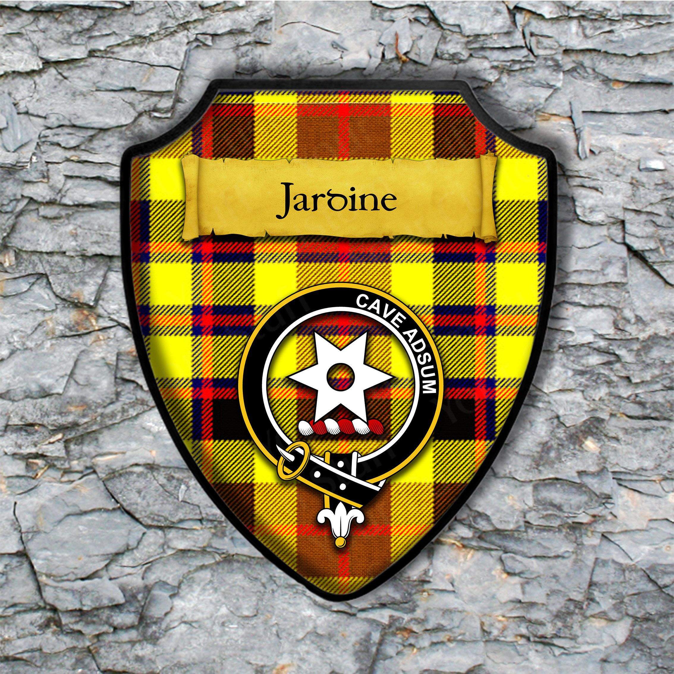 Jardine Shield Plaque with Scottish Clan Coat of Arms Badge on Clan ...