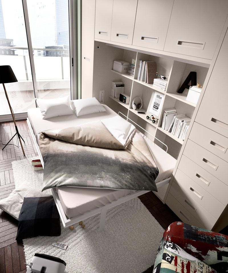 Contemporary FoldAway Double Wall Bed & Optional Wardrobe