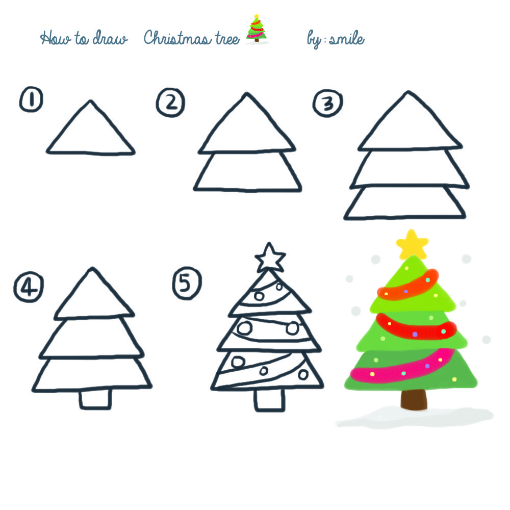 how to draw christmas tree Christmas tree drawing