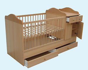 Details about 4in1 LUXURY Baby Cot Bed UNIT with CHANGING