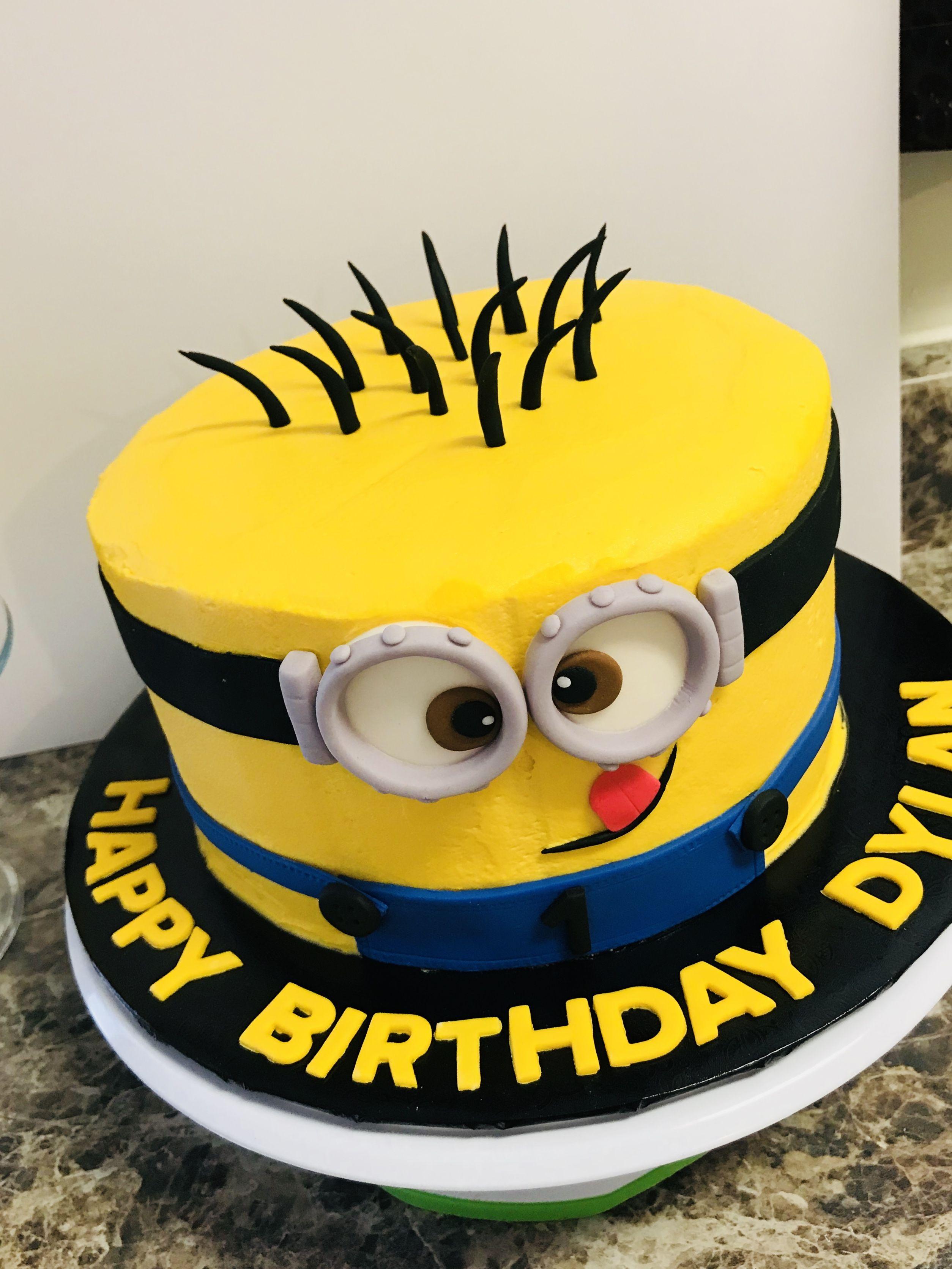 Minion Cake Buttercream Minion Cake 1st Birthday Cake Kid Cakes
