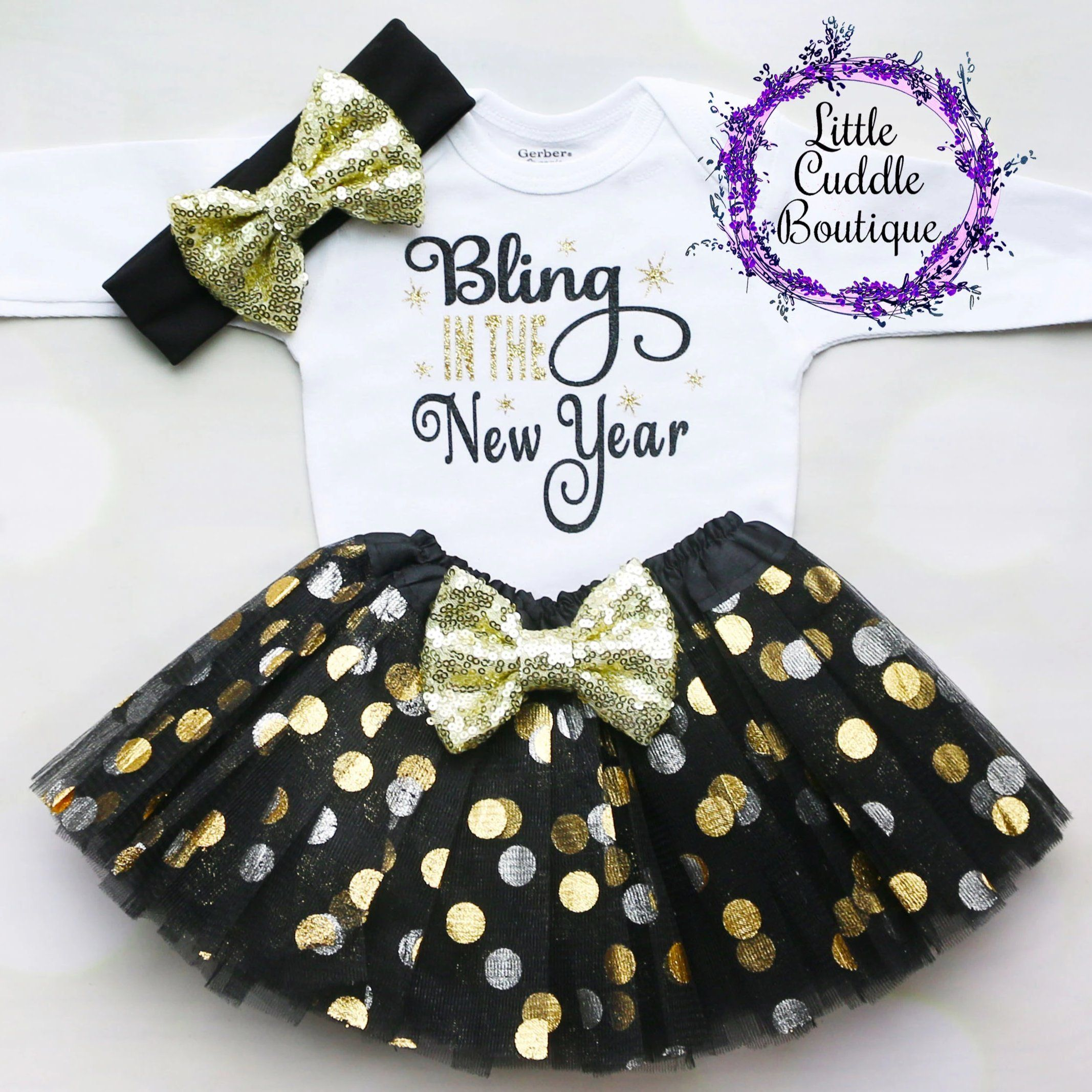 New Year S Baby Tutu Outfit In 2020 Baby Tutu Outfits Baby Holiday Clothes Tutu Outfits