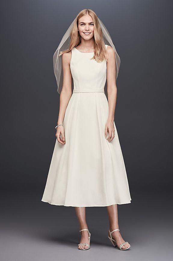 0accd6c39b650 Faille Tea-Length A-Line Dress with Pockets by DB Studio available David s  Bridal