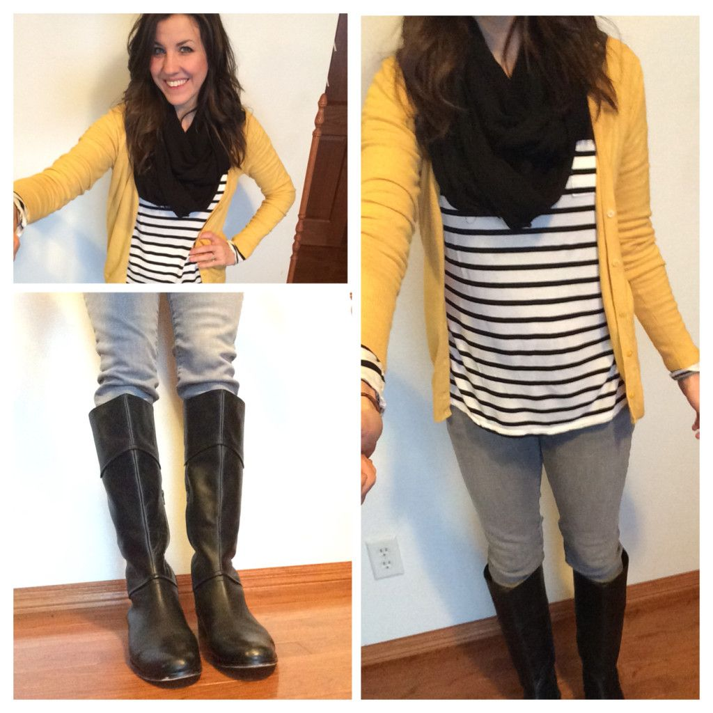 Black and White Striped Shirt, black scarf, yellow cardigan, black ...