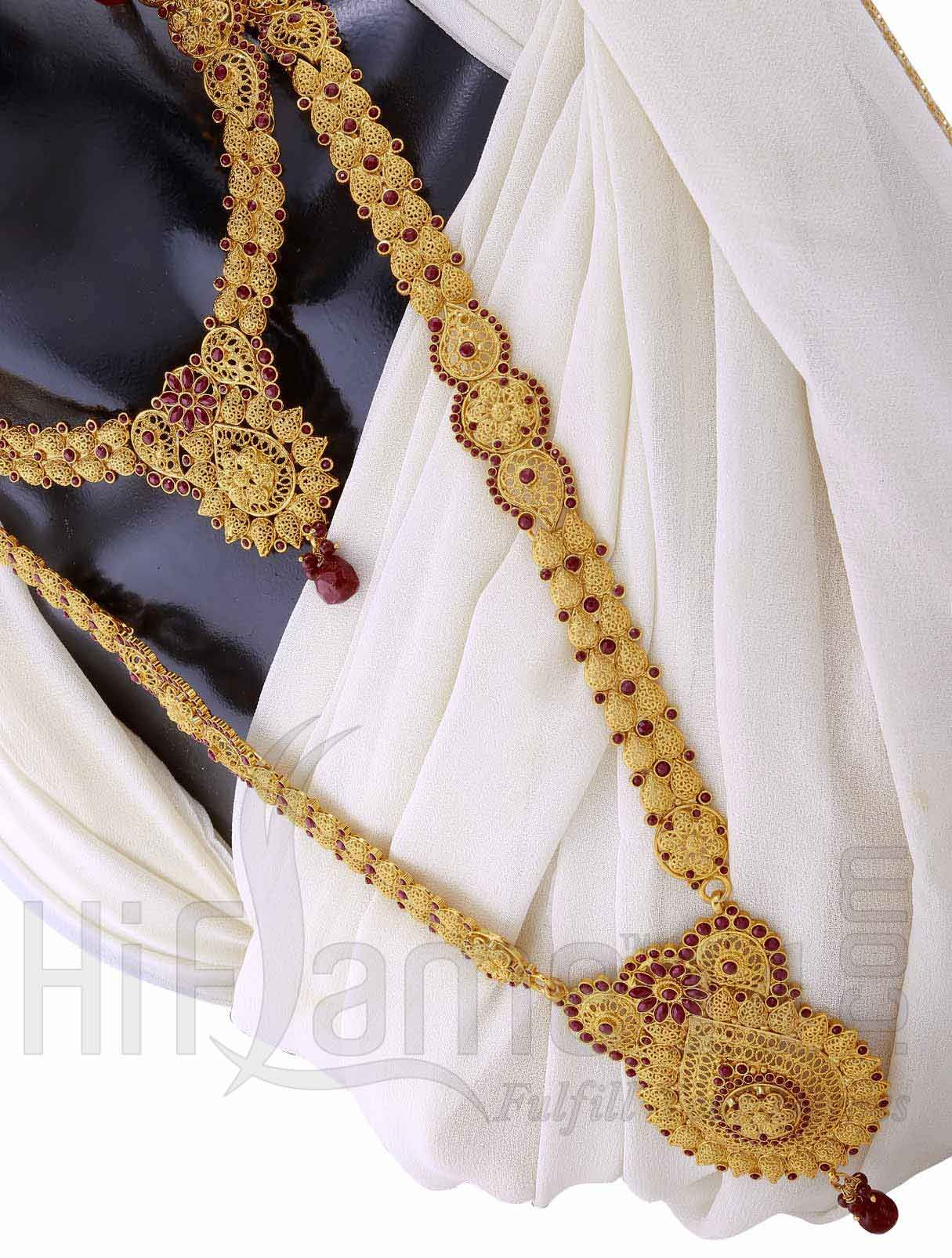 Bridal Jewellery Set with Gold and Maroon Beads