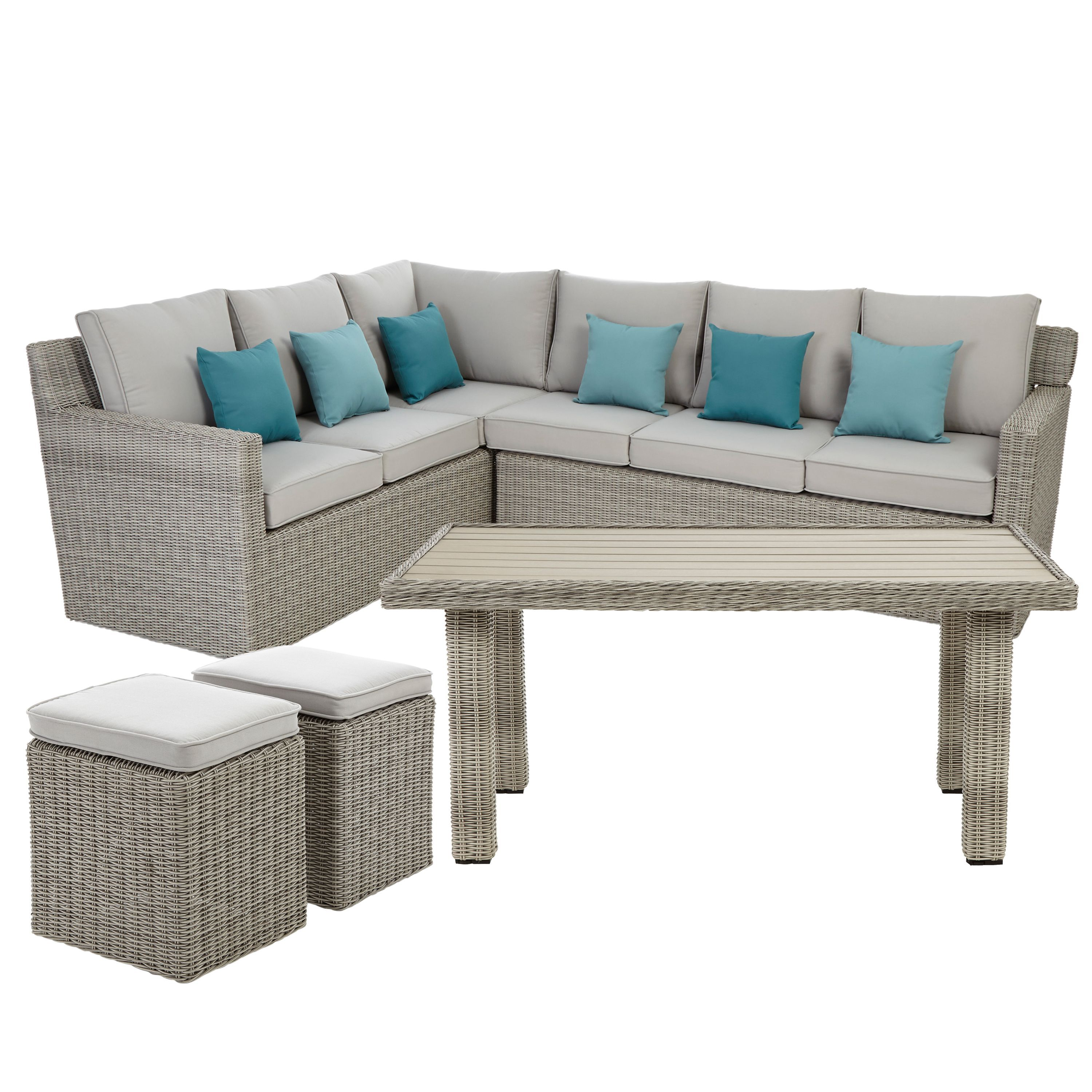 Praslin Rattan Effect 7 Seater Coffee Dining Set Rooms Diy At B Q Leather Living Room Furniture Dining Sofa Contemporary Leather Sofa