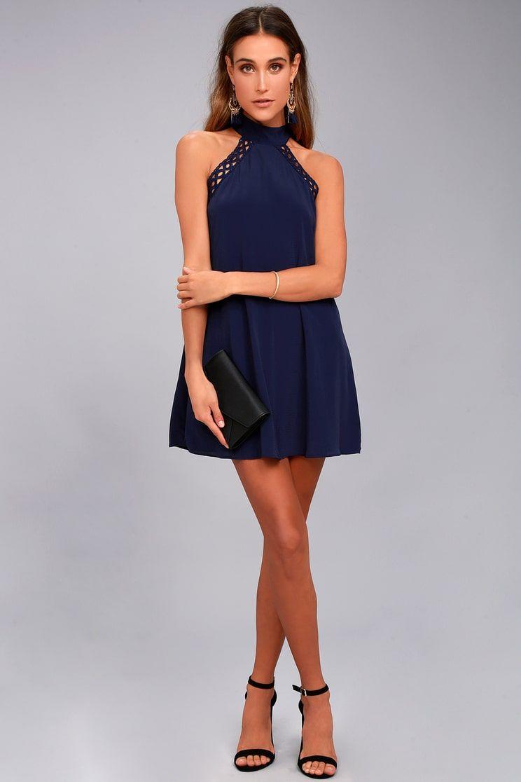 4c34e94f76eb Lulus | Any Sway, Shape, or Form Navy Blue Lace Halter Dress | Size ...