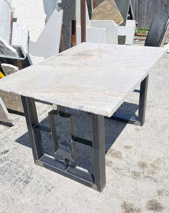 Modern Dining Table Granite Top With Steel Square Legs Modern Dining Table Dining Table Marble Granite Dining Table