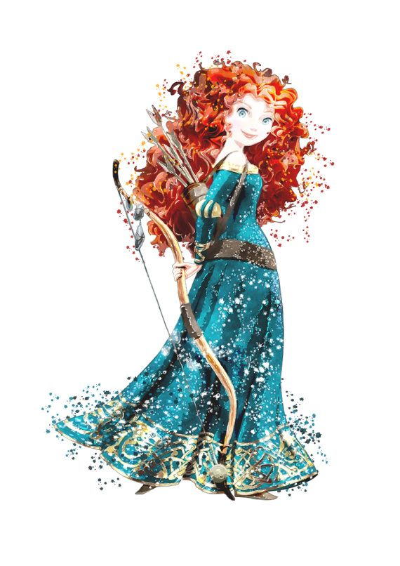 Merida art, Disney Princess Merida, Baby shower gift, Poster Watercolor Painting, Wall Art, Kids Décor, Nursery Décor, Brave girl print, V48 #disneyprincess