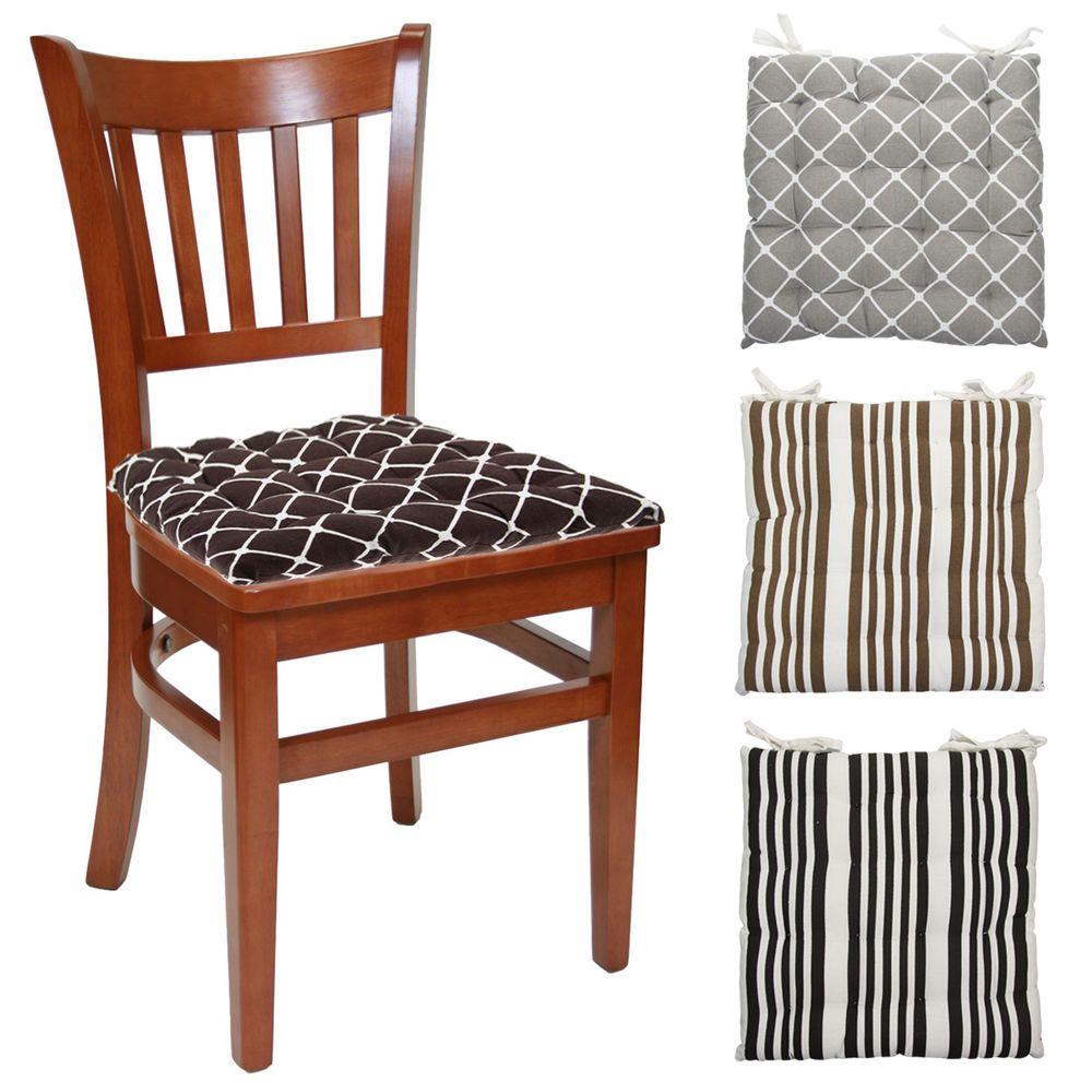Set Of 4 Cotton Indoor Reversible Chair Pads & Ties Kitchen Dining ...