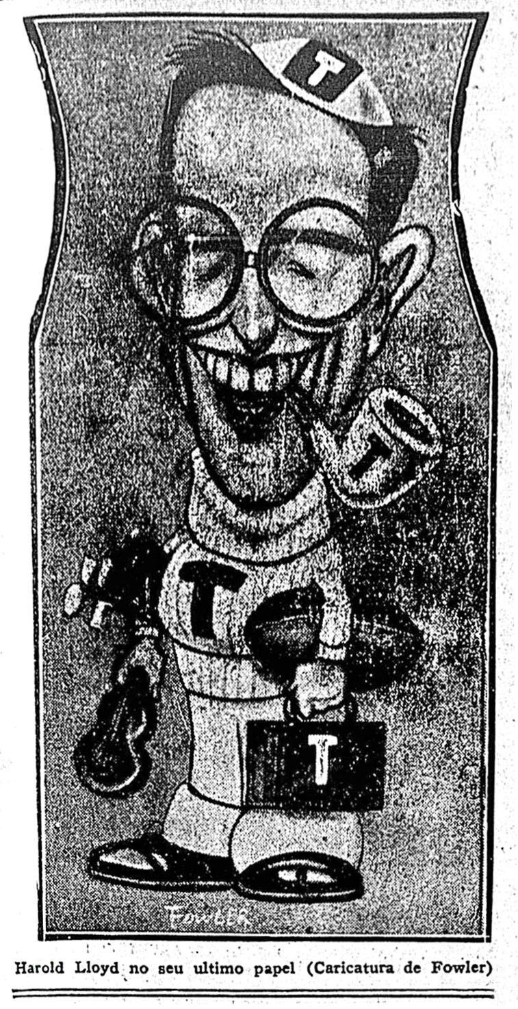 HAROLD LLOYD (caricature by Fowler promoting THE FRESHMAN, 1925) - (CORREIO DA MANHA, Sunday, November 22, 1925, Rio de Janeiro, Brazil)