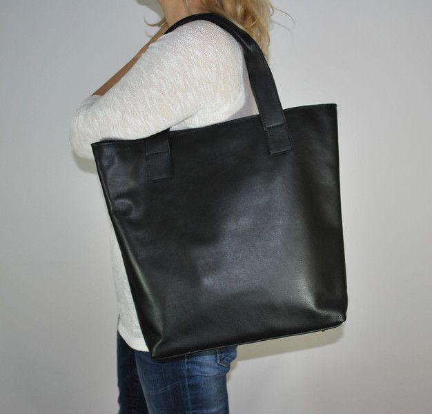 Duza Torba Skora Naturalna Czarny Leather Tote Leather Bag Women Genuine Leather Totes