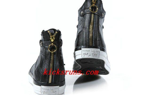 Black Leather Converse Double Zipper
