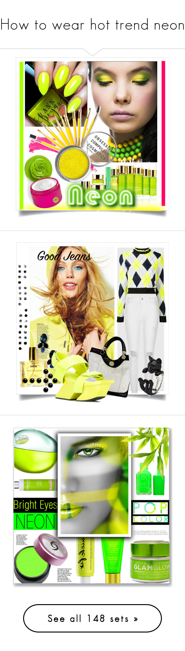"""How to wear hot trend neon"" by yours-styling-best-friend ❤ liked on Polyvore featuring neon, beauty, Topshop, Tata Harper, Obsessive Compulsive Cosmetics, Bond No. 9, neonbeauty, Jill Stuart, River Island and PAM"