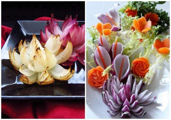 gemuese schnitzen lila zwiebel blumen geroestet essen und trinken pinterest food carving. Black Bedroom Furniture Sets. Home Design Ideas