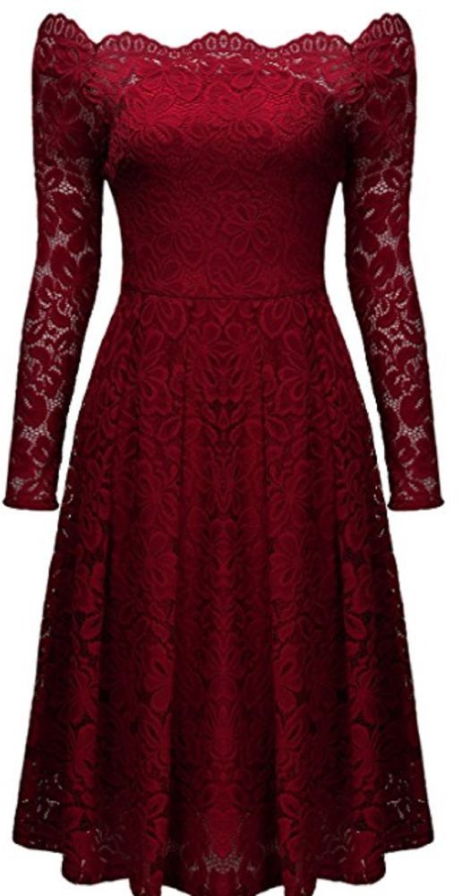 9e0e879785cd Women Vintage Floral Lace Long Sleeve Boat Neck Cocktail CHRISTMAS Swing  Dress #MISSMAY