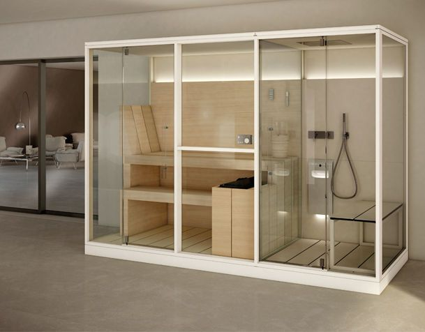 Cabina doble para ba o y wellness combina sauna y hammam - Cabina ducha sauna ...