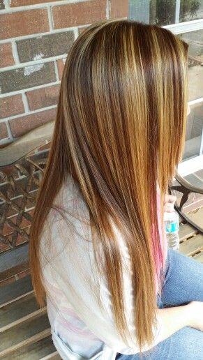 Blonde Highlights Copper Lowlights Hair Long Hair Styles Lob Haircut