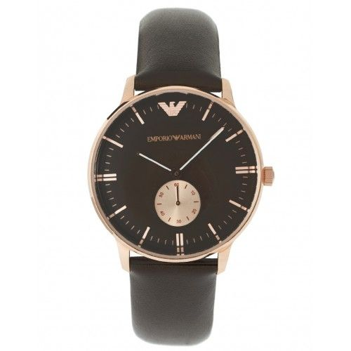 9a2ed2d3ad6 Emporio Armani AR0383 Mens Watch Classic Brown Leather Slim Rose Gold -  WatchMonde