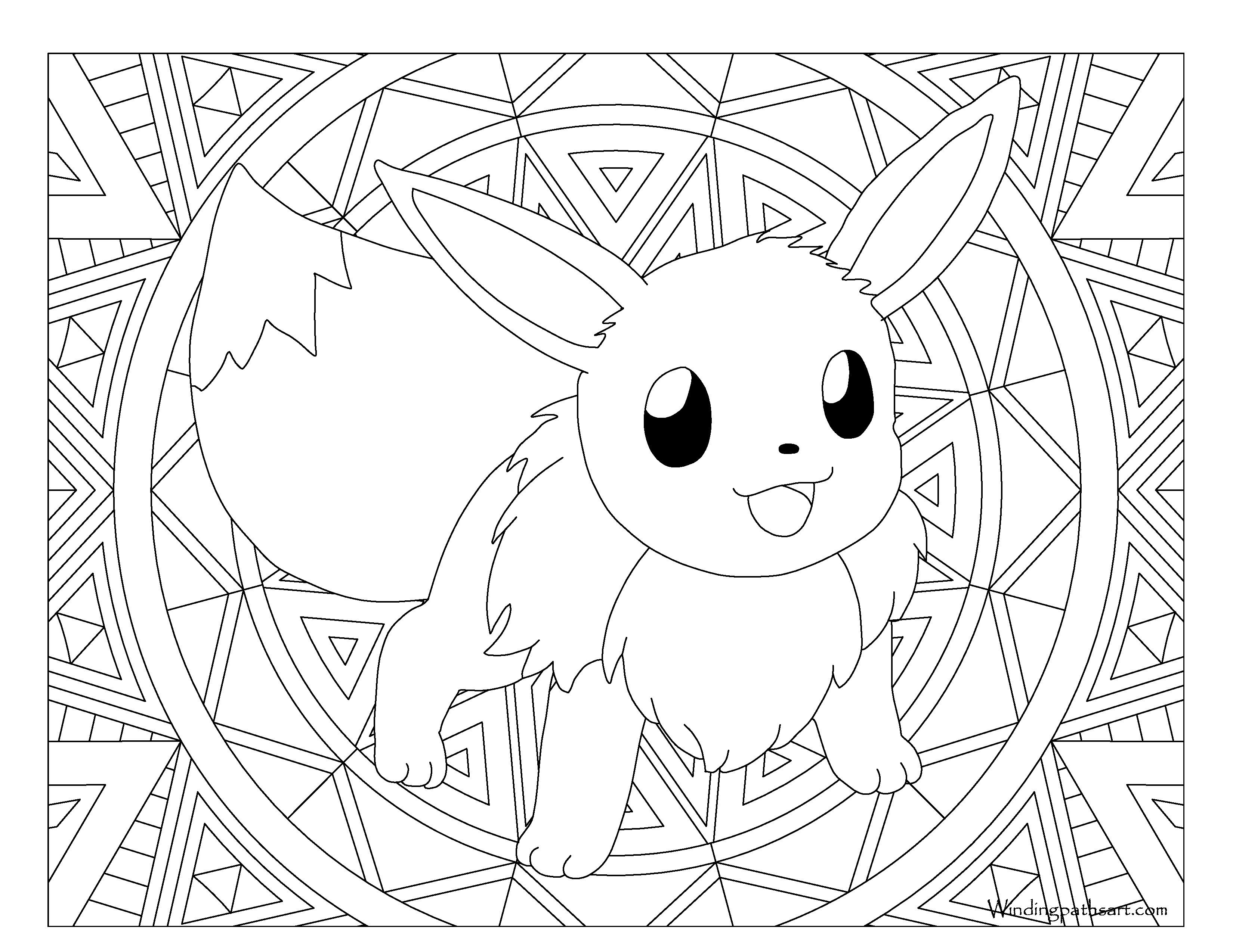 Elegant Image of Eevee Evolutions Coloring Pages | Stained ...