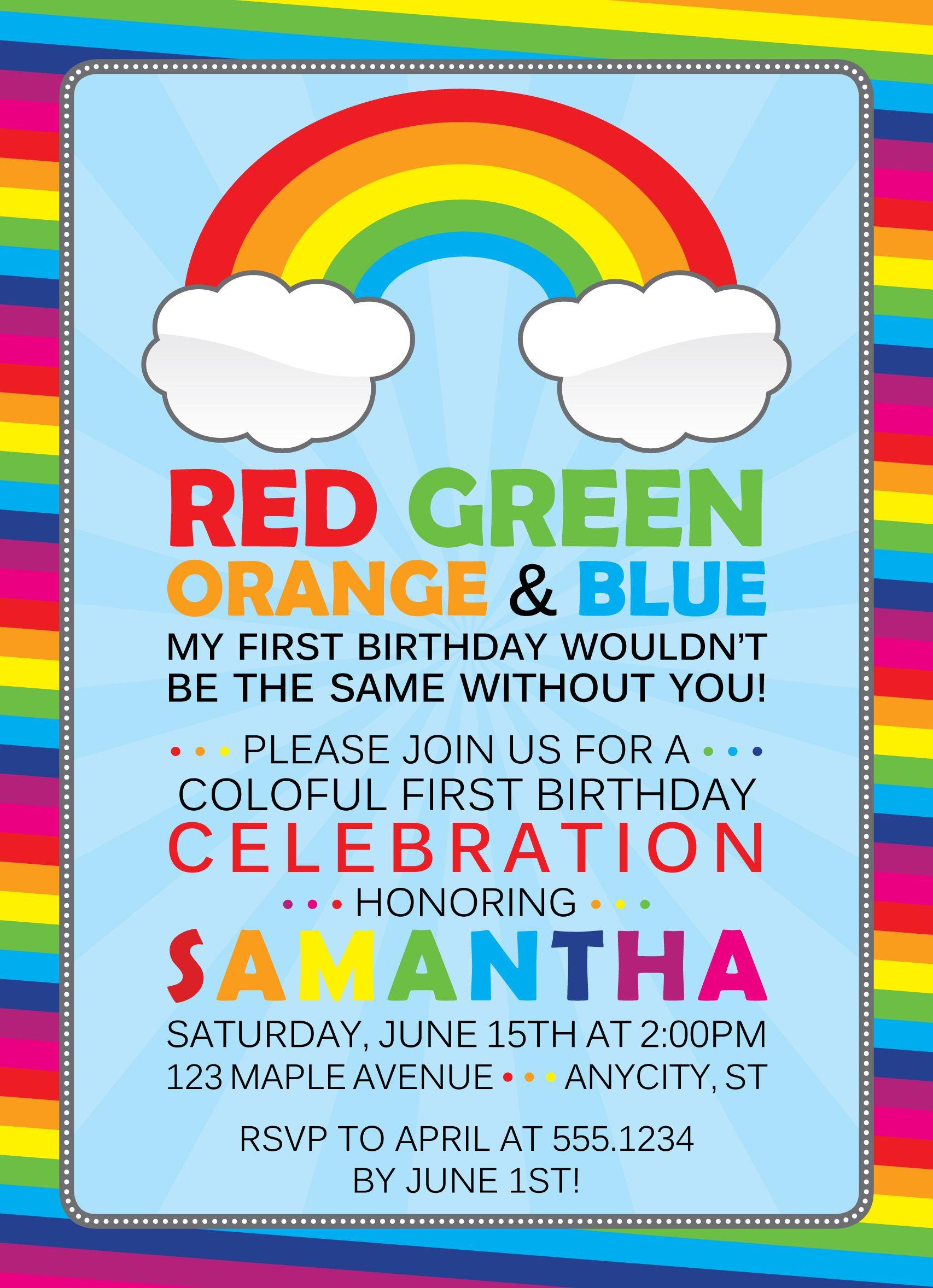 Cute Wording For A Rainbow Birthday Invite