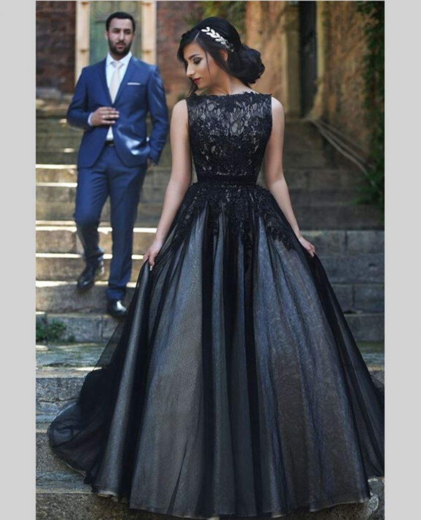 Click to buy ucuc lace black wedding dresses ball gown bateau