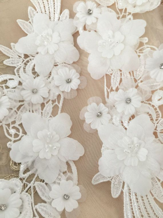a9dc04b668 3d beaded lace applique pair in ivory for garters