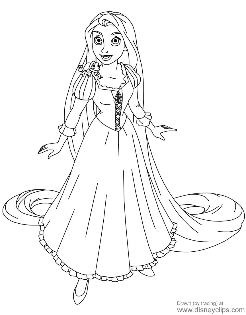Coloring Page Of Rapunzel And Pascal From Tangled My Fav Tangled Coloring Pages Rapunzel Coloring Pages Coloring Pages