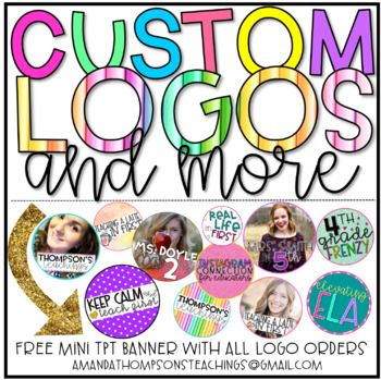 Custom educator logos and banners for all of your social media needs! Please download the preview before purchasing for examples, pricing, and how to contact me! Looking forward to working with you. If you have any questions, please email me at AmandaThompsonsTeachings@gmail.com or