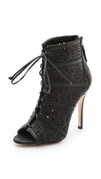 Alice + Olivia Lace-Up Laser Cut Booties reliable QCLuvCFQy2