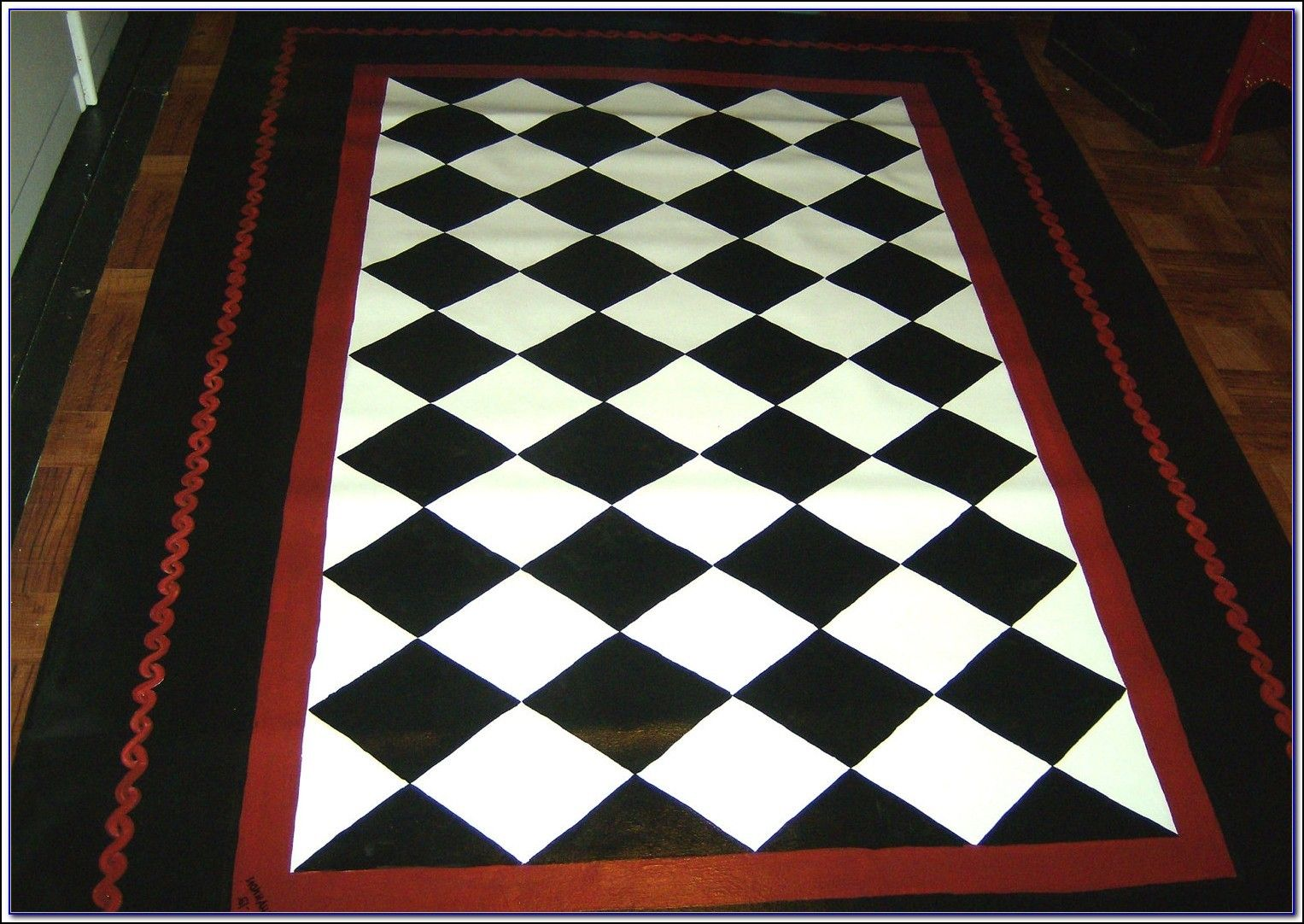 Red And White Checkered Rug