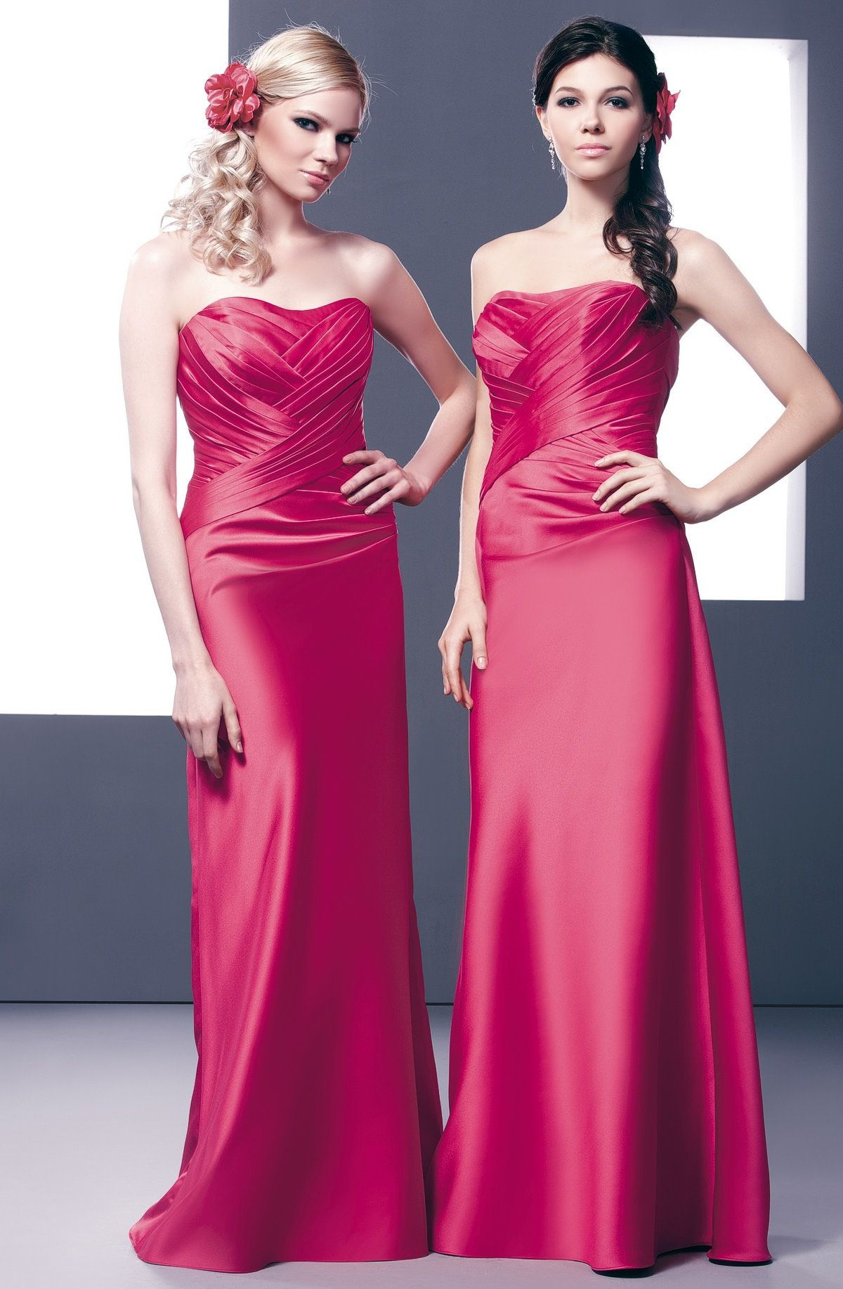 Hot Pink Bridesmaid Dresses | Admor Strapless Pink Credited ...