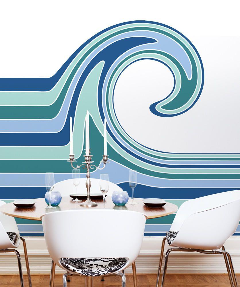 Wall Mural Decal Sticker Gillian Ocean Wave Color