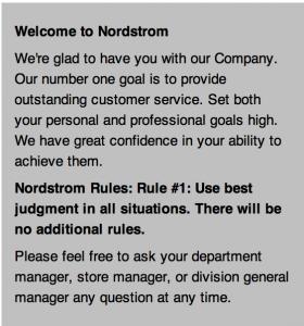 Emulate NordstromS Employee Handbook This Is It It Has One Rule