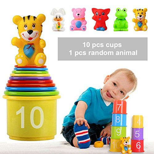 Stacking Up Cups, Early Educational Toddlers Toy Bathtub Toys With Numbers  U0026 Animals Game For