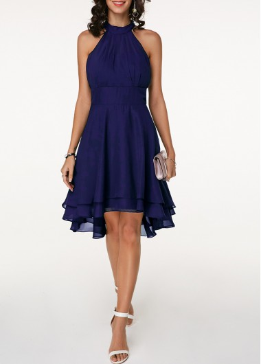 0c274b1bbf3611 Asymmetric Hem Sleeveless High Waist Navy Blue Dress | modlily.com - USD  $31.45
