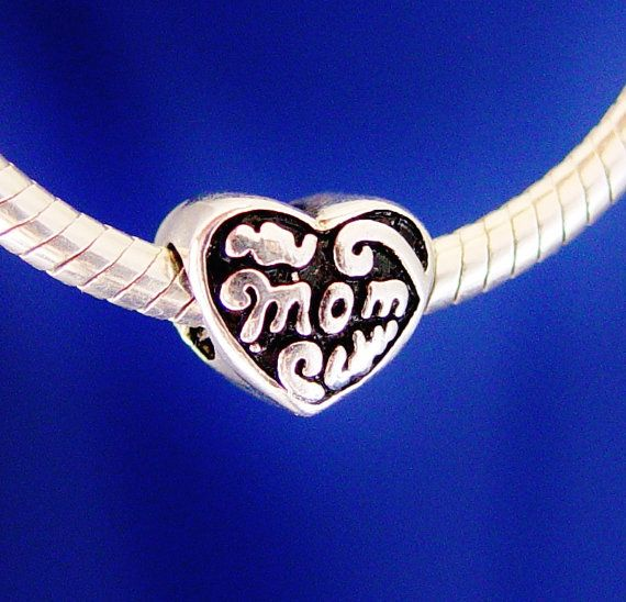 Mom Heart European Charm Bead Silver Plated designed by rbargains, $9.75