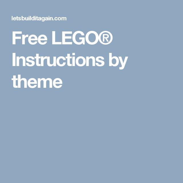 Free Lego Instructions By Theme Lego Pinterest Free Lego