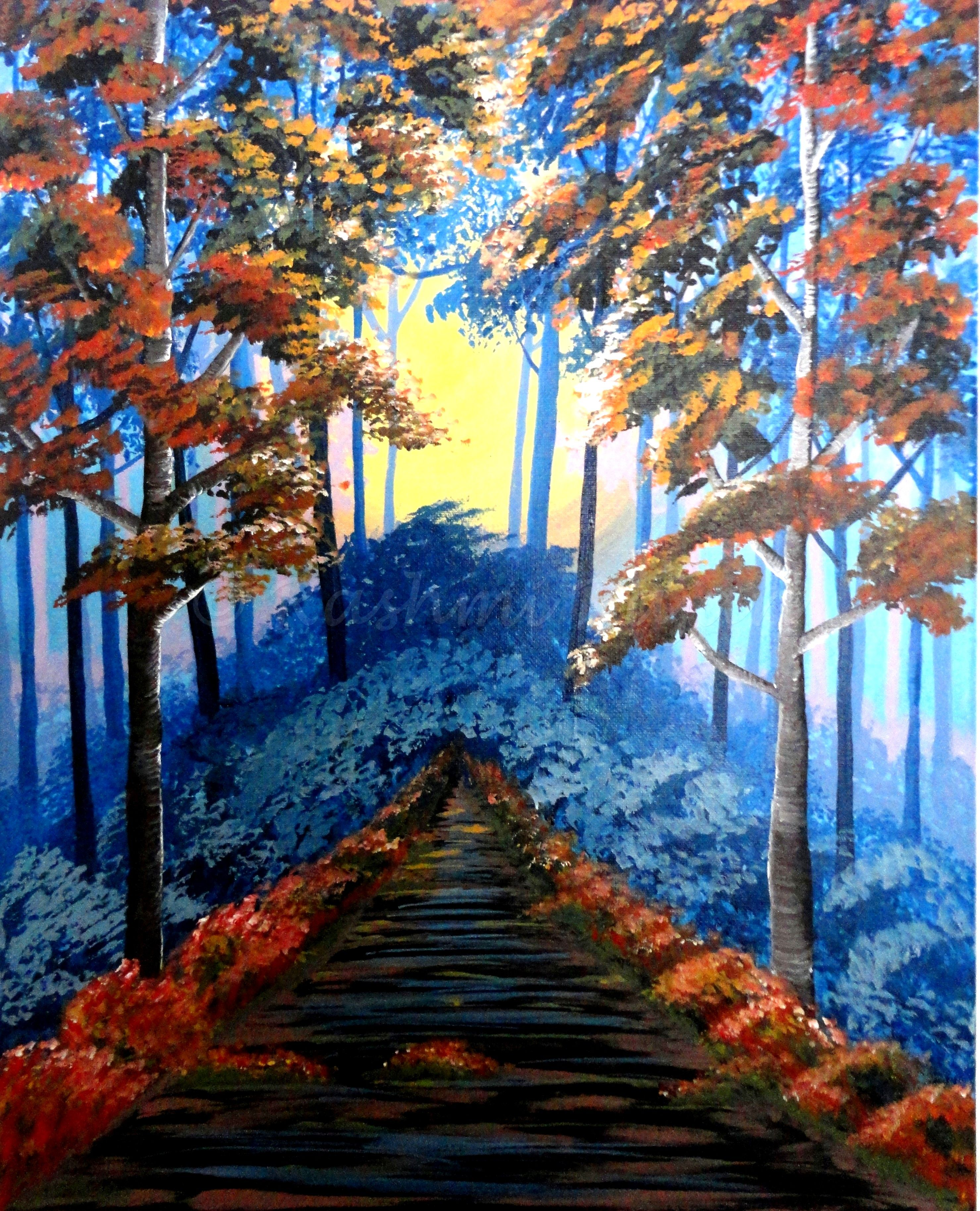 """Walk into the mist-laden forest with this painting """"Into the Woods"""" - An acrylic painting on a 16 x 20 inch canvas. Ready to be hung. Priced at $250. To purchase, visit www.facebook.com/shop.magicfingers or write to magicfingers081@gmail.com"""
