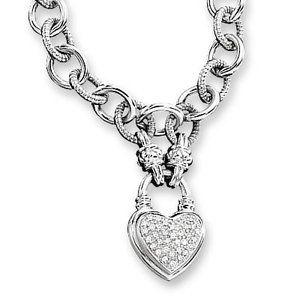 Zales 1 4 Ct T W Diamond Heart Link Necklace In Sterling Silver