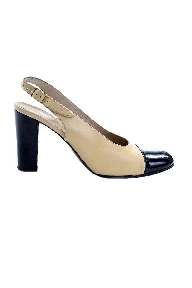 3cf3a2c5b6 1990s Chanel Slingback Shoes Two Tone Cream & Black Cap Toe Block Heel –  Dressing Vintage