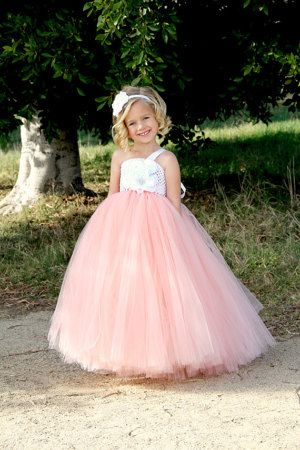 Peach Flower Girl Tutu Dress by DreamingInBlush on Etsy