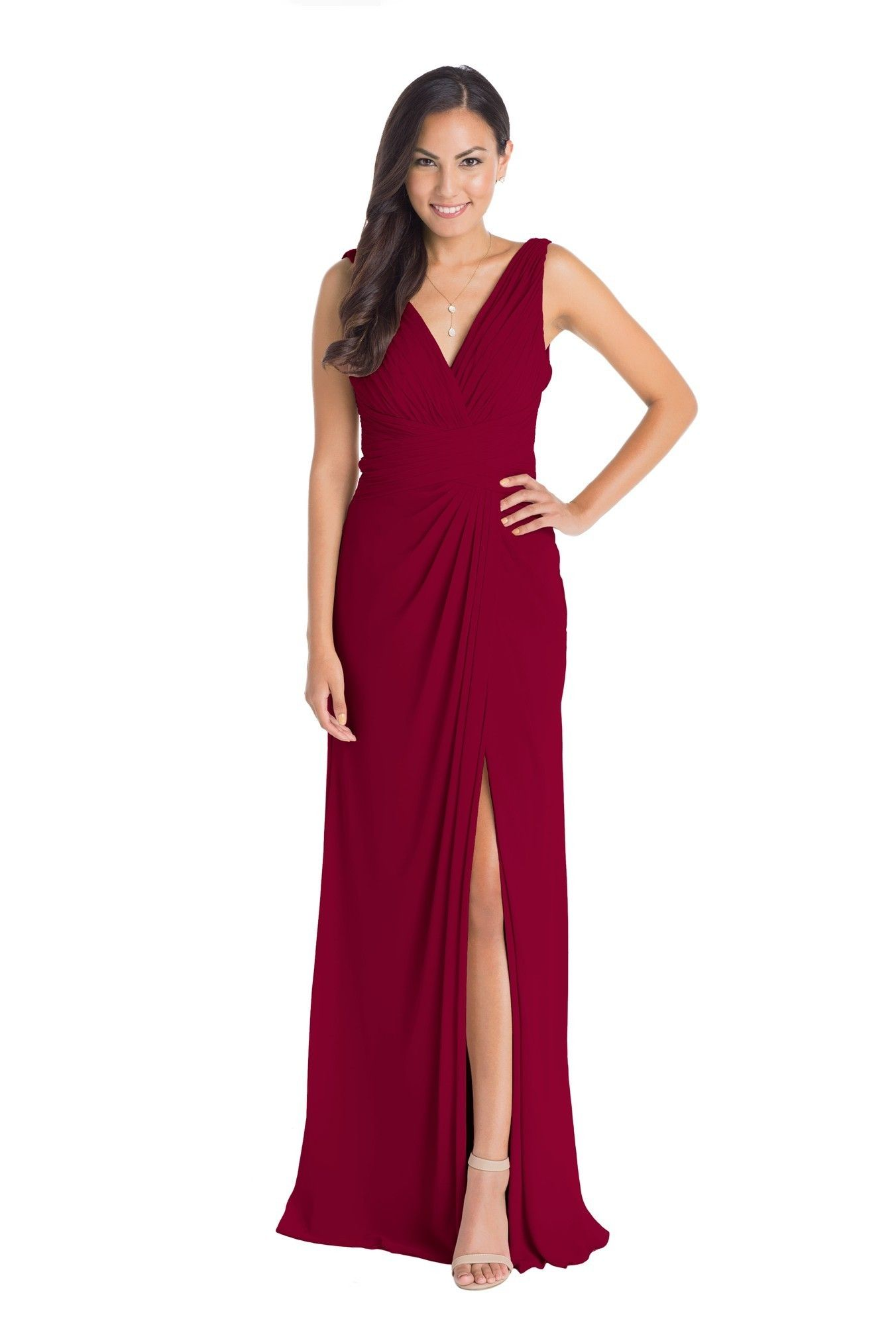 This Elegant Red Crinkle Chiffon Floor Length Bridesmaid Gown By Watters Features Flattering Front And Back Vnecklines Discover More Dresses To: Crinkled V Neck Dress Chagne Wedding At Websimilar.org