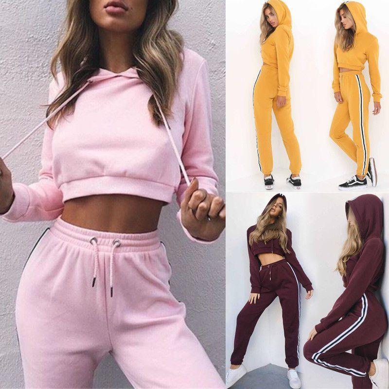 Women s Sport Hoodies Sweatshirt Crop Tops Pants Set 2Pcs Tracksuit Sweat  Suit in Ropa 97581655a199e