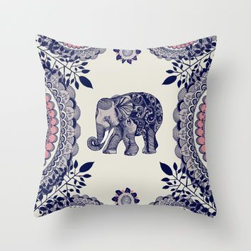Elephant Pink Throw Pillow by rskinner1122 #elephantitems